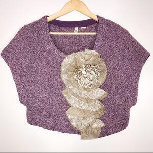 Anthro   Moth Purple Adler Shrug & Brown Rosette